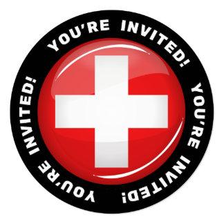 Glossy Round Swiss Flag Card