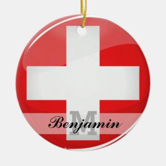 Glossy Round Swiss Flag Ceramic Ornament