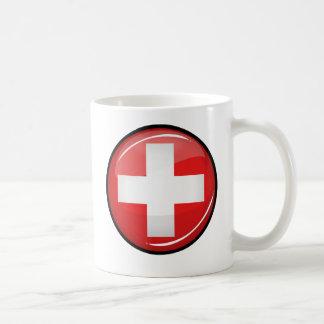 Glossy Round Swiss Flag Coffee Mug