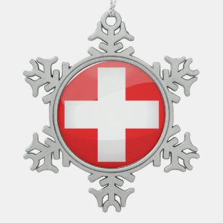 Glossy Round Swiss Flag Snowflake Pewter Christmas Ornament