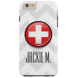 Glossy Round Swiss Flag Tough iPhone 6 Plus Case