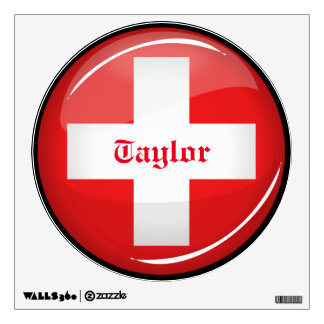 Glossy Round Swiss Flag Wall Sticker