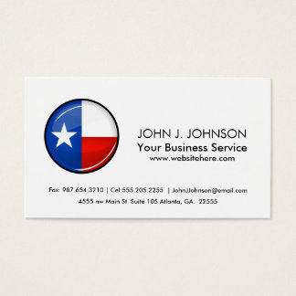 Glossy Round Texas Flag Business Card