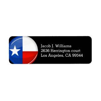 Glossy Round Texas Flag Label