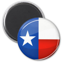 Glossy Round Texas Flag Magnet