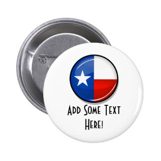 Glossy Round Texas Flag Pinback Button