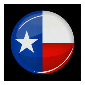 Glossy Round Texas Flag Poster