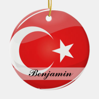 Glossy Round Turkish Flag Ceramic Ornament
