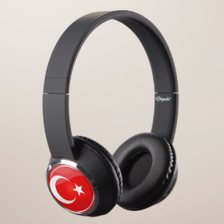 Glossy Round Turkish Flag Headphones