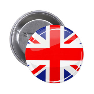 Glossy Round UK English Flag Button