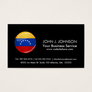 Glossy Round Venezuela Flag Business Card