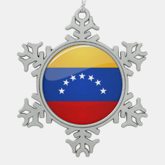 Glossy Round Venezuela Flag Snowflake Pewter Christmas Ornament