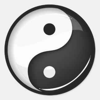 Glossy Round Yin Yang Symbol Classic Round Sticker