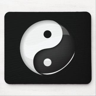 Glossy Round Yin Yang Symbol Mouse Pad