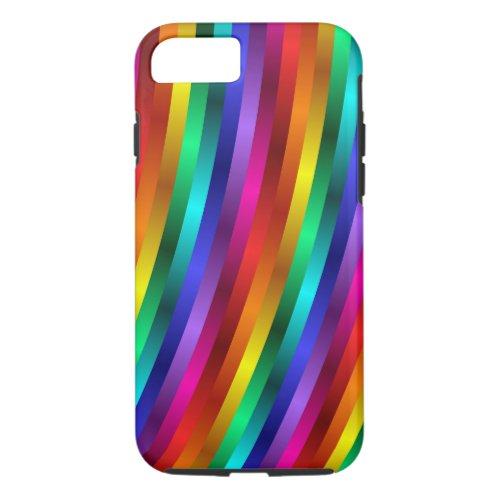 Glossy Shiny Rainbow Stripes iPhone 7 Case Phone Case
