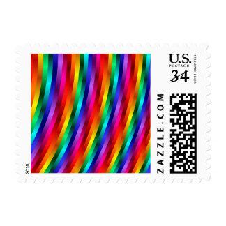 Glossy Shiny Rainbow Stripes Postage Stamps
