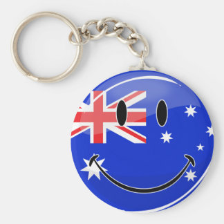Glossy Smiling Australian Flag Keychain