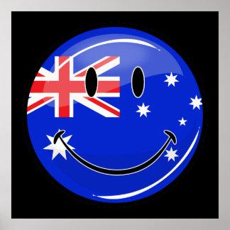 Glossy Smiling Australian Flag Poster