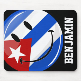Glossy Smiling Cuban Flag Mouse Pad