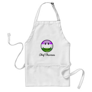 Glossy Smiling Genderqueer Flag Adult Apron
