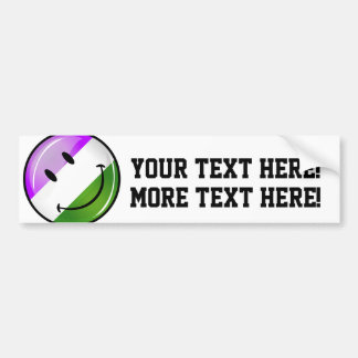 Glossy Smiling Genderqueer Flag Bumper Sticker