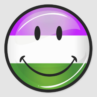 Glossy Smiling Genderqueer Flag Classic Round Sticker