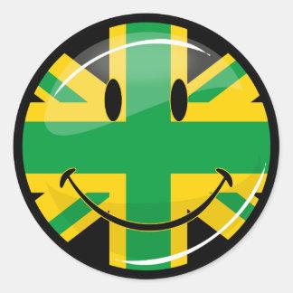Glossy Smiling Jamaican British Flag Classic Round Sticker