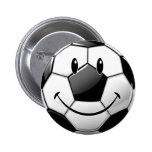 Glossy Smiling Toon Soccer Ball Pinback Buttons