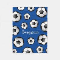 Glossy Soccer Ball Fleece Blanket