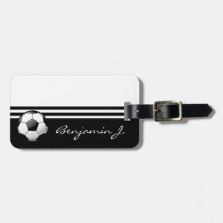 Glossy Soccer Ball Luggage Tag