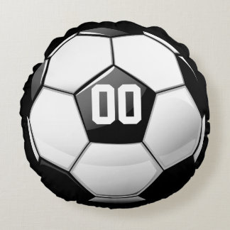 Glossy Soccer Ball Round Pillow