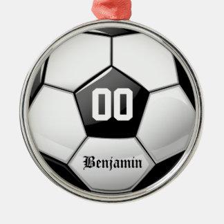 Glossy Soccer Ball Round Metal Christmas Ornament