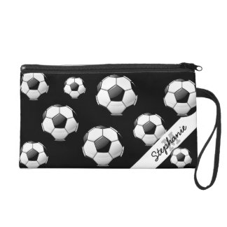Glossy Soccer Ball Wristlet Purse
