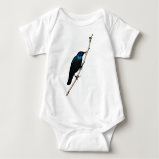 Glossy Starling blue bird of happiness Baby Bodysuit