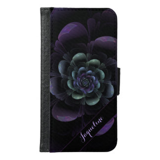 Glossy Teal Purple Lavender Black Floral Samsung Galaxy S6 Wallet Case