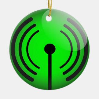 Glossy wifi sticker ceramic ornament