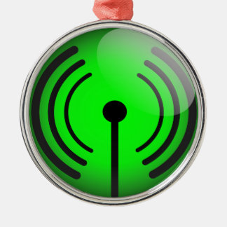 Glossy wifi sticker metal ornament