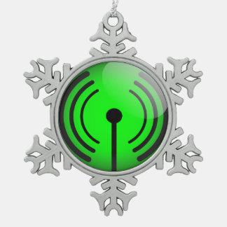 Glossy wifi sticker snowflake pewter christmas ornament
