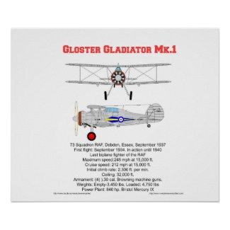 Gloster Gladiator-73 Squadron (1937) Poster