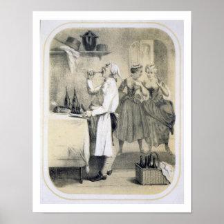 Glotonería en la cocina, de una serie de las impre póster