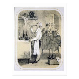 Glotonería en la cocina, de una serie de las postales