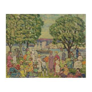 Gloucester Harbour (oil on canvas) Wood Print
