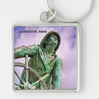 GLOUCESTER, MASS Silver-Colored SQUARE KEYCHAIN