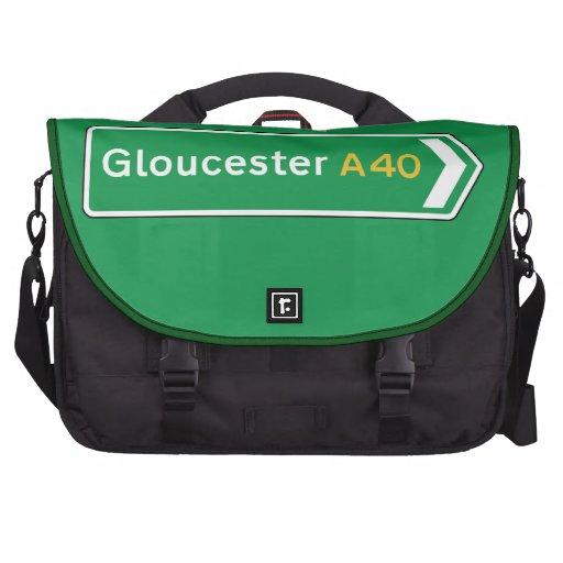 Gloucester, señal de tráfico BRITÁNICA Bolsas De Portátil