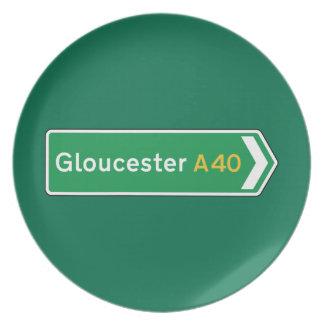 Gloucester señal de tráfico BRITÁNICA Plato Para Fiesta