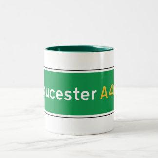 Gloucester UK Road Sign Coffee Mugs