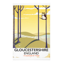 Gloucestershire, England Train travel poster. Stationery