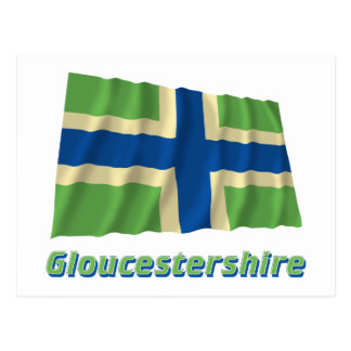 Gloucestershire Waving Flag with Name Postcard