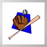 glove ball & bat poster