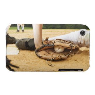 Glove of baseball player tagging runner out, iPhone 3 case